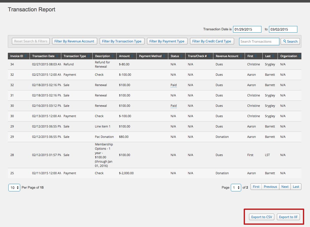 MemberClicks screenshot: Transaction Report - Memberclicks