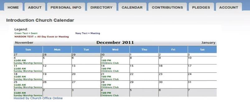 Church Office Online Software - Church calendar
