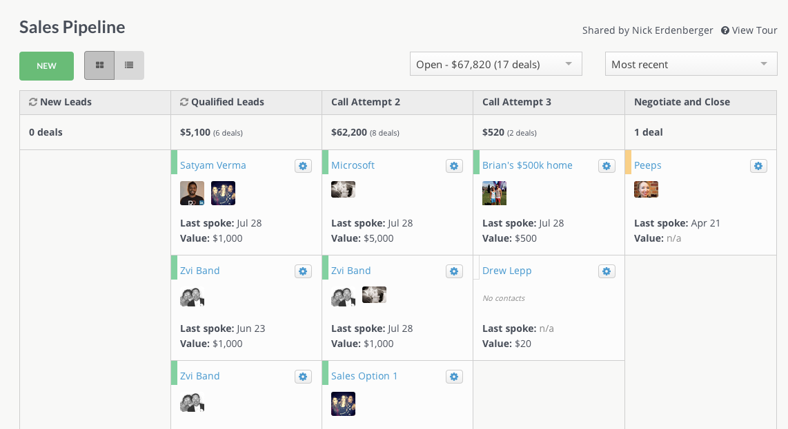 Pipelines allow you to track and visualize your deals.