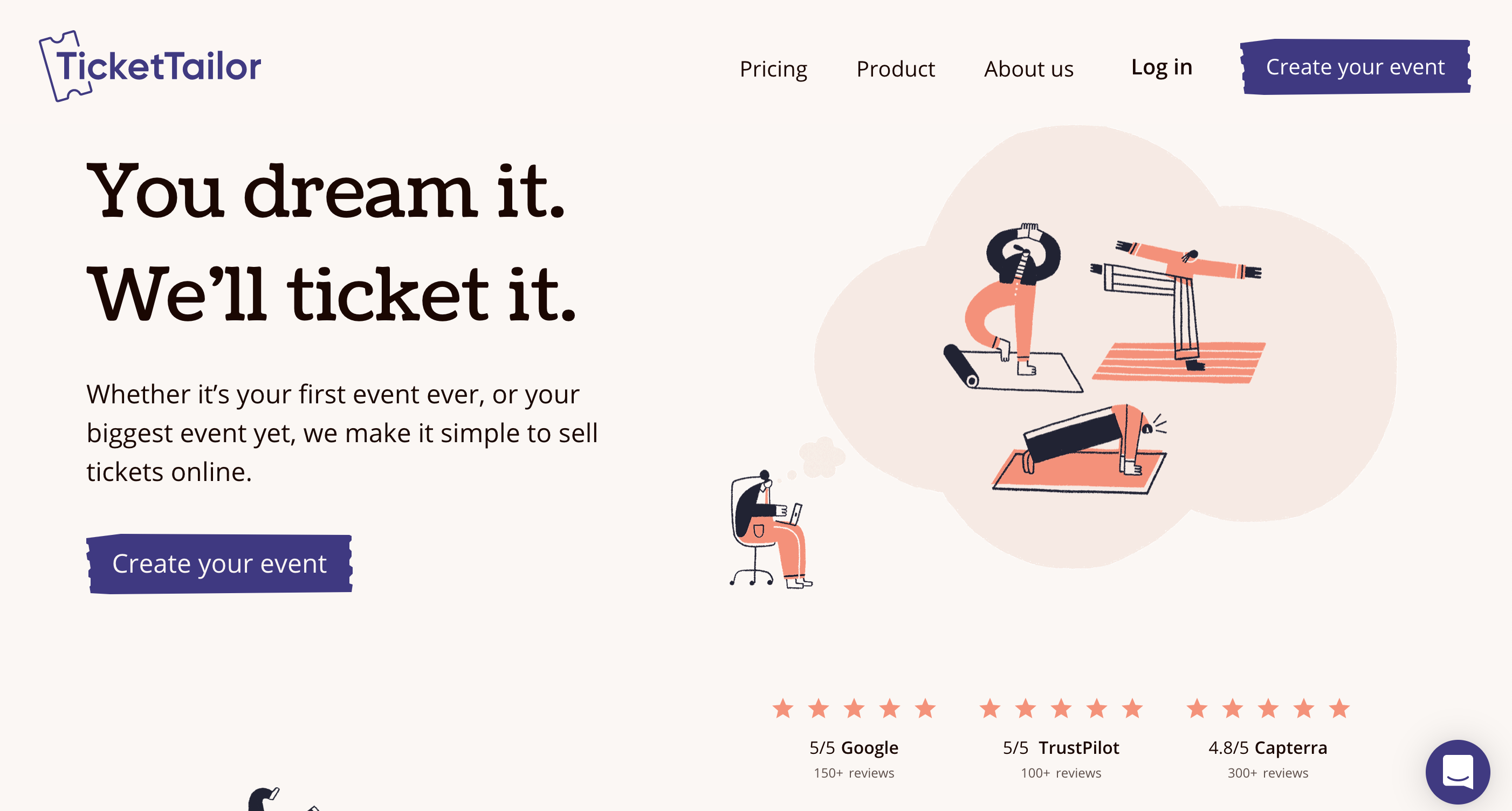 Ticket Tailor screenshot: Website homepage