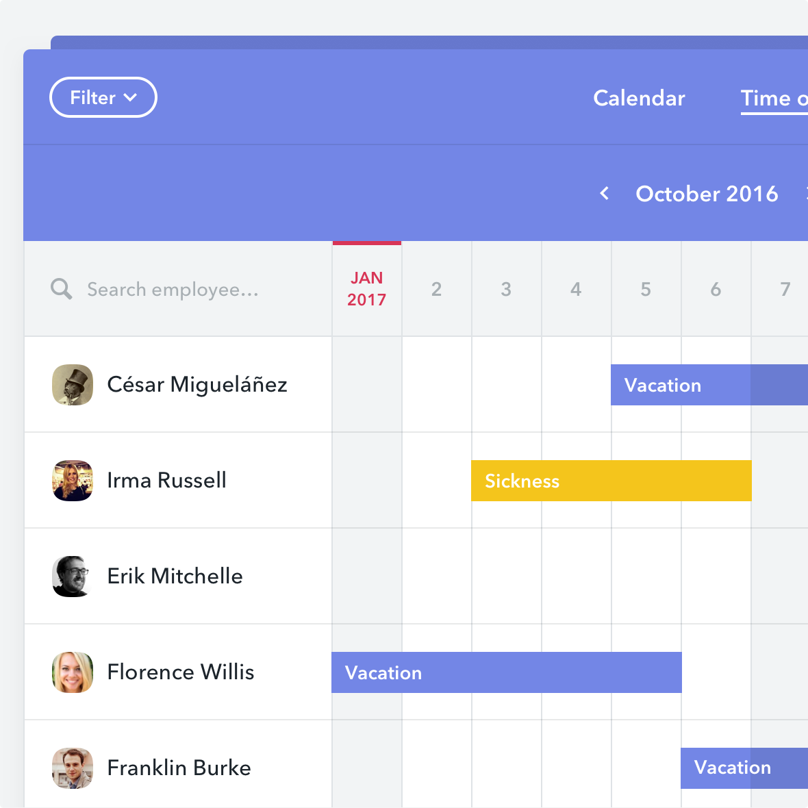 Factorial screenshot: The time off manager helps simplify the management of holidays, absences and sick leaves within the company