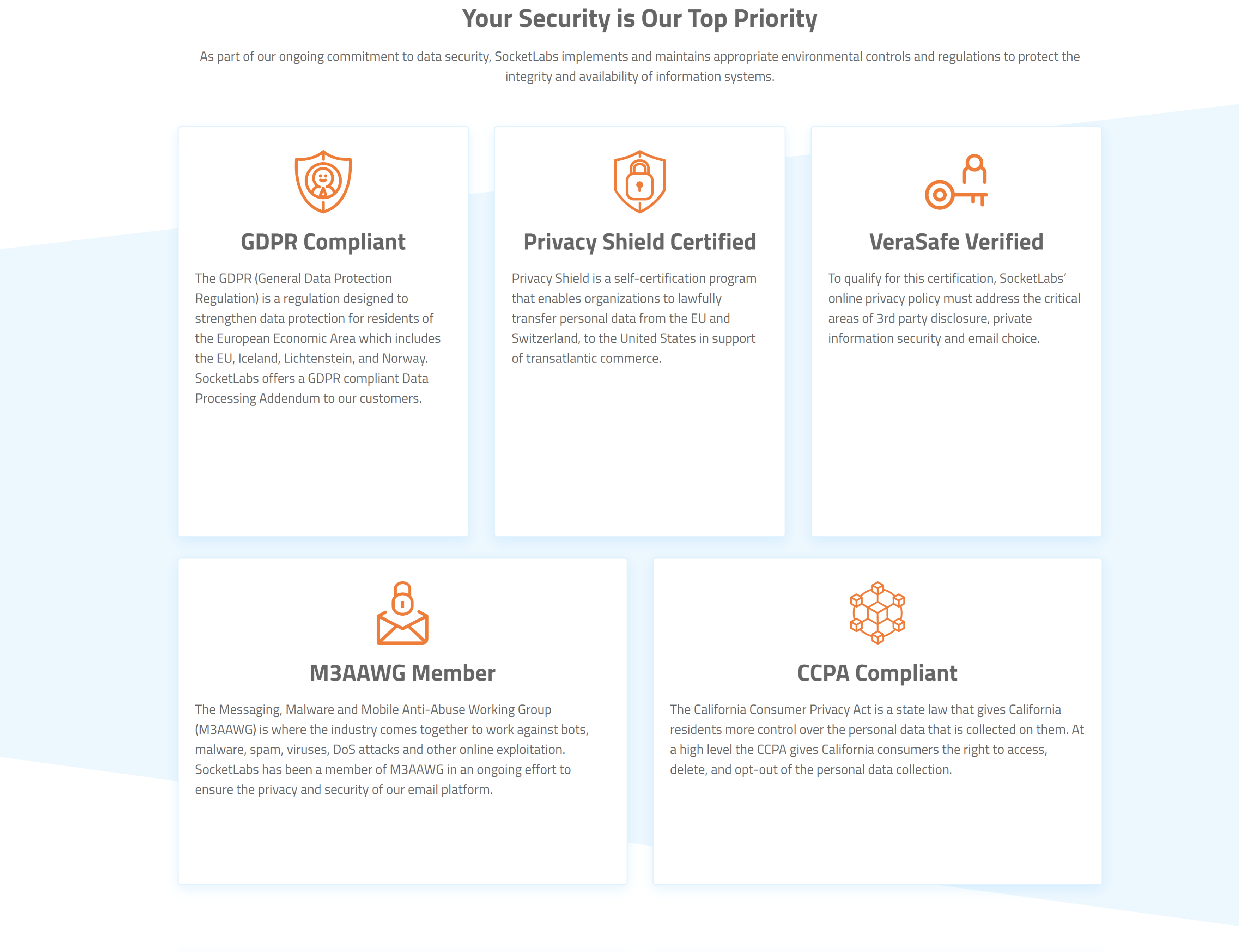 At SocketLabs, security is our top concern.  That why we implement and support all necessary environmental controls and regulations to protect the integrity of our information systems.