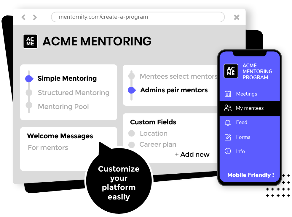 Mentornity screenshot: Set the best configuration for your mentoring program with your organization branding. Build your own model.