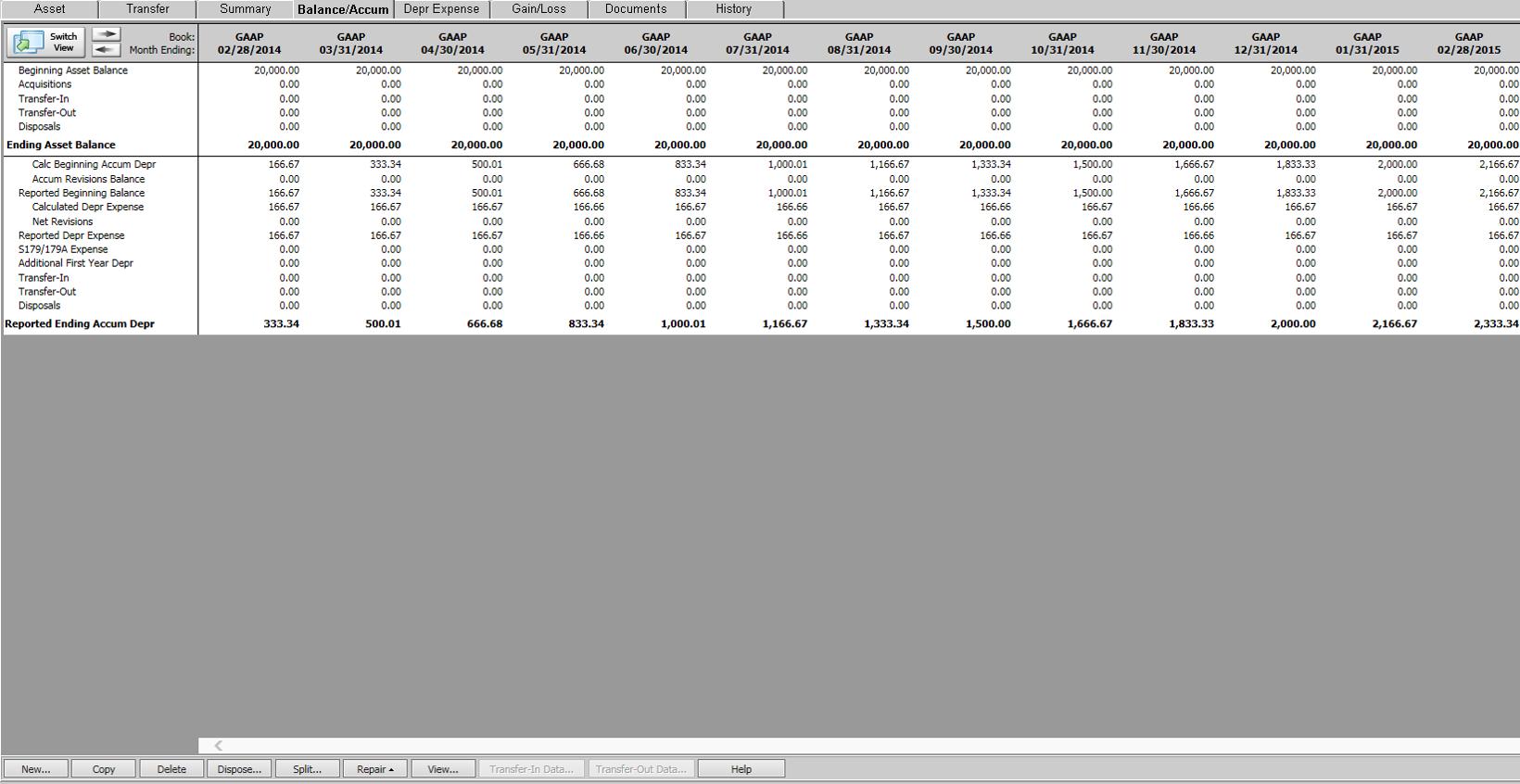 Fixed Assets Software - Balance