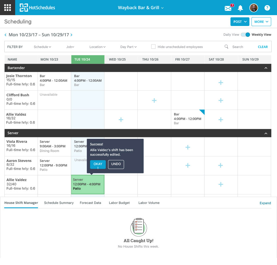 The scheduling calendar allows users to create and edit shifts