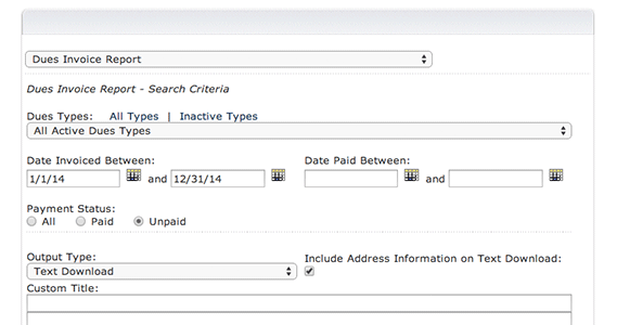 Track expirations and unpaid invoices with dues invoice reports