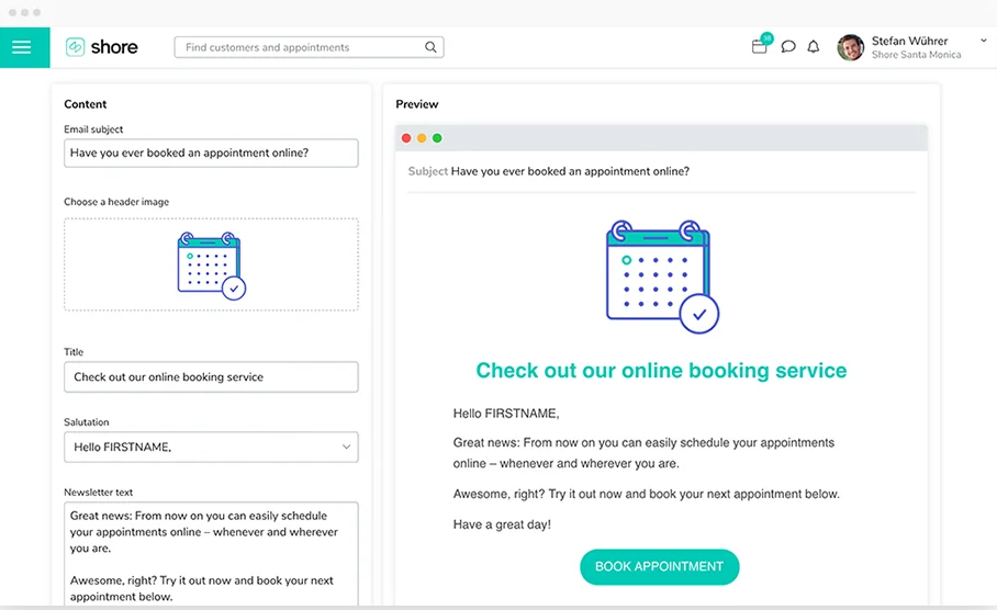 Shore.com Software - Shore Online Booking appointment preview