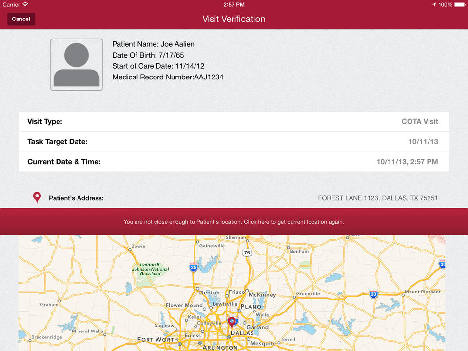 AgencyCore is accessible on iPad and users can view the patient's location on a GPS map for directions.