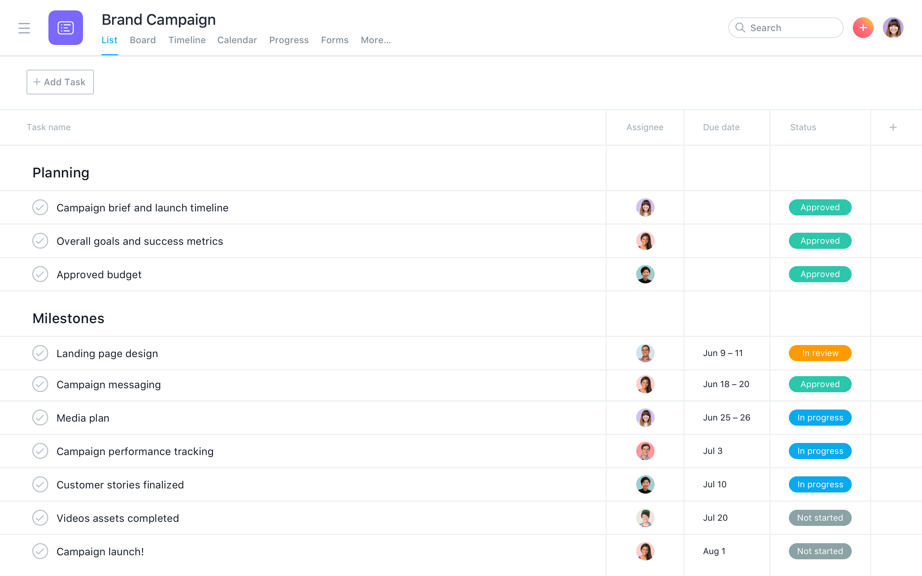 Asana screenshot: Create tasks with due dates, set reminders, and organize them into lists to prioritize and organize work across your team. You can visualize lists your way too. View lists as boards, gantt charts or in calendar form.