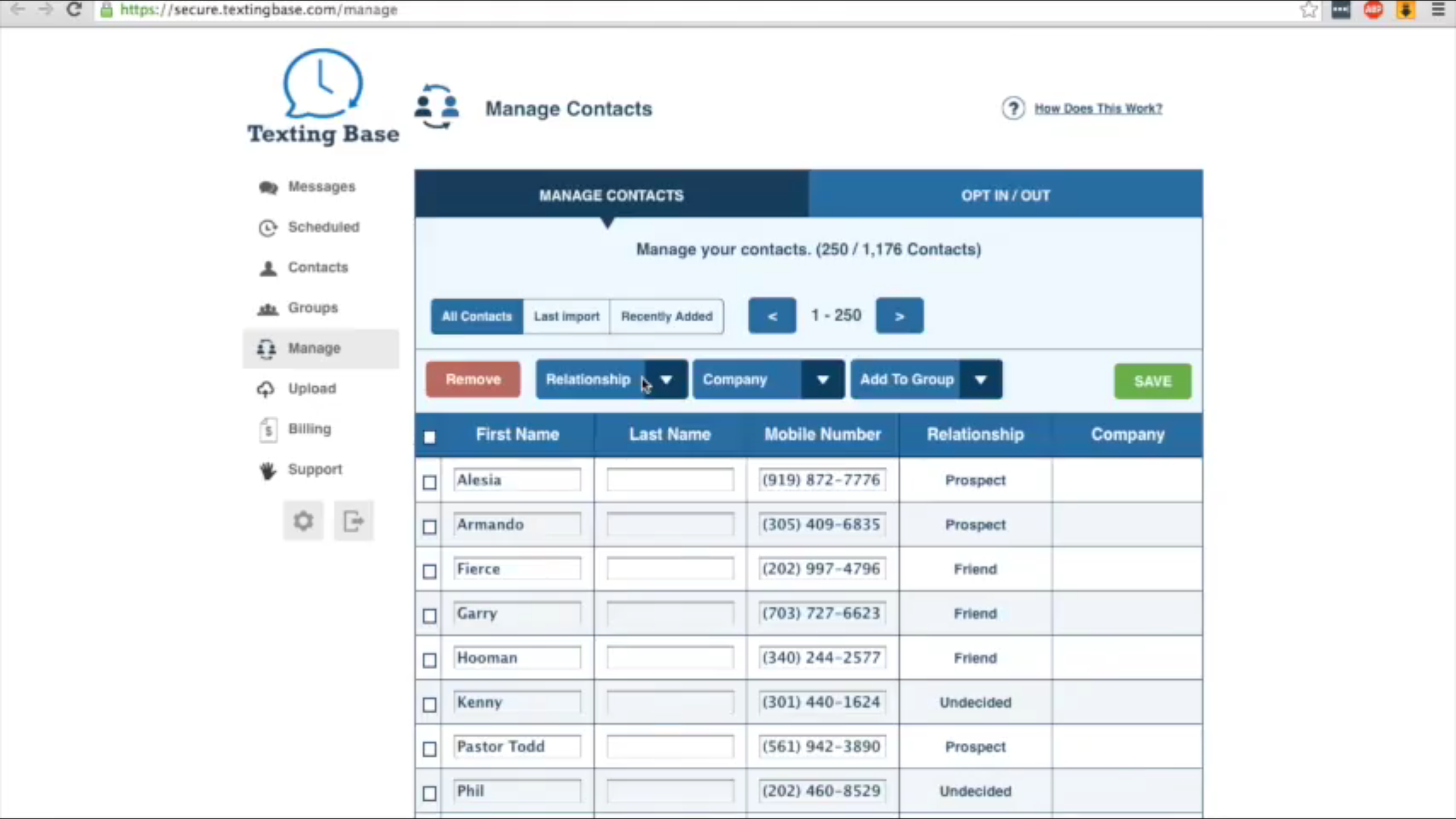 Once imported, contact records can be fully managed within the intuitive system