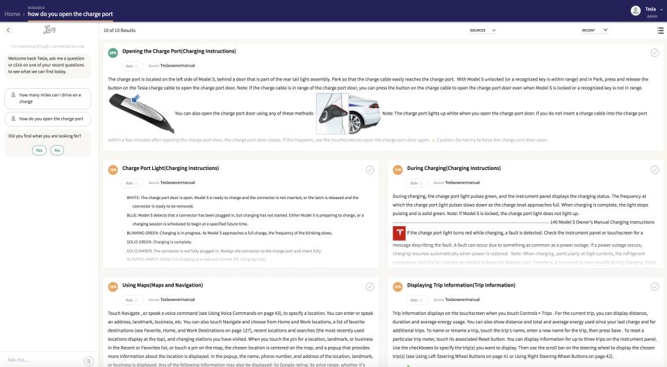 Lucy  screenshot: Lucy: Tesla FAQ screenshot