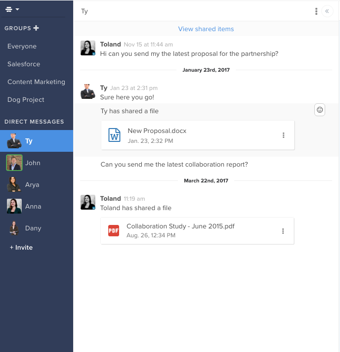 Files can be dragged-and-dropped into messages to share them with other team members