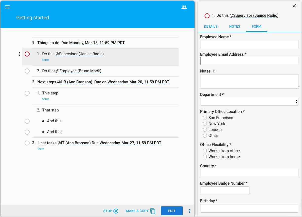 TeamworkIQ workflow forms