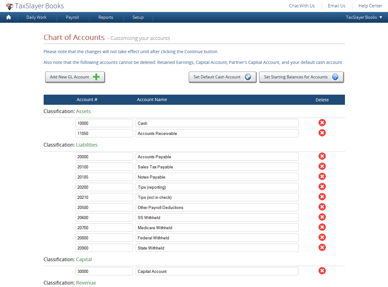 Multiple GL accounts can be created in TaxSlayer Books, and users can set starting balances and default cash accounts
