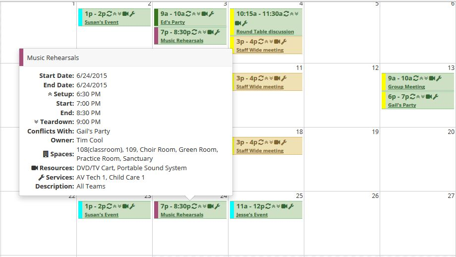 eSpace event scheduling module with events calendar view