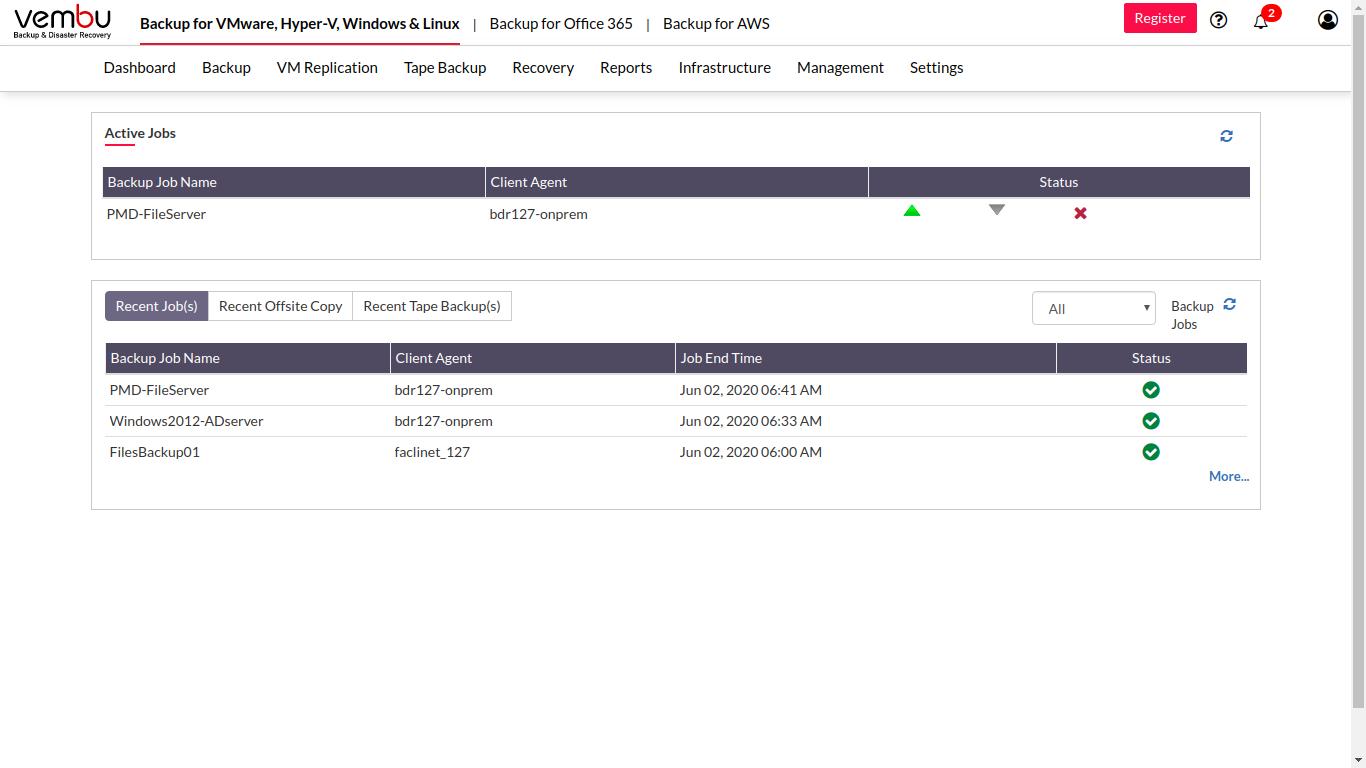 Vembu BDR Suite job status tracking