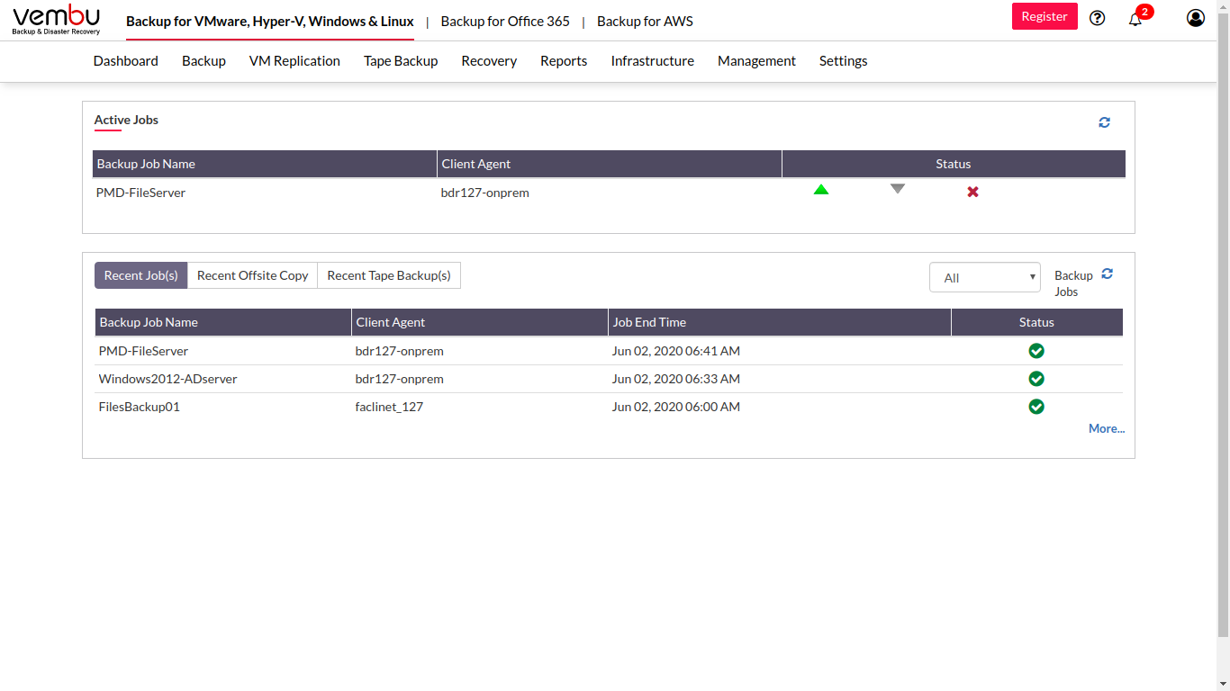 Vembu BDR Software - Vembu BDR Suite job status tracking