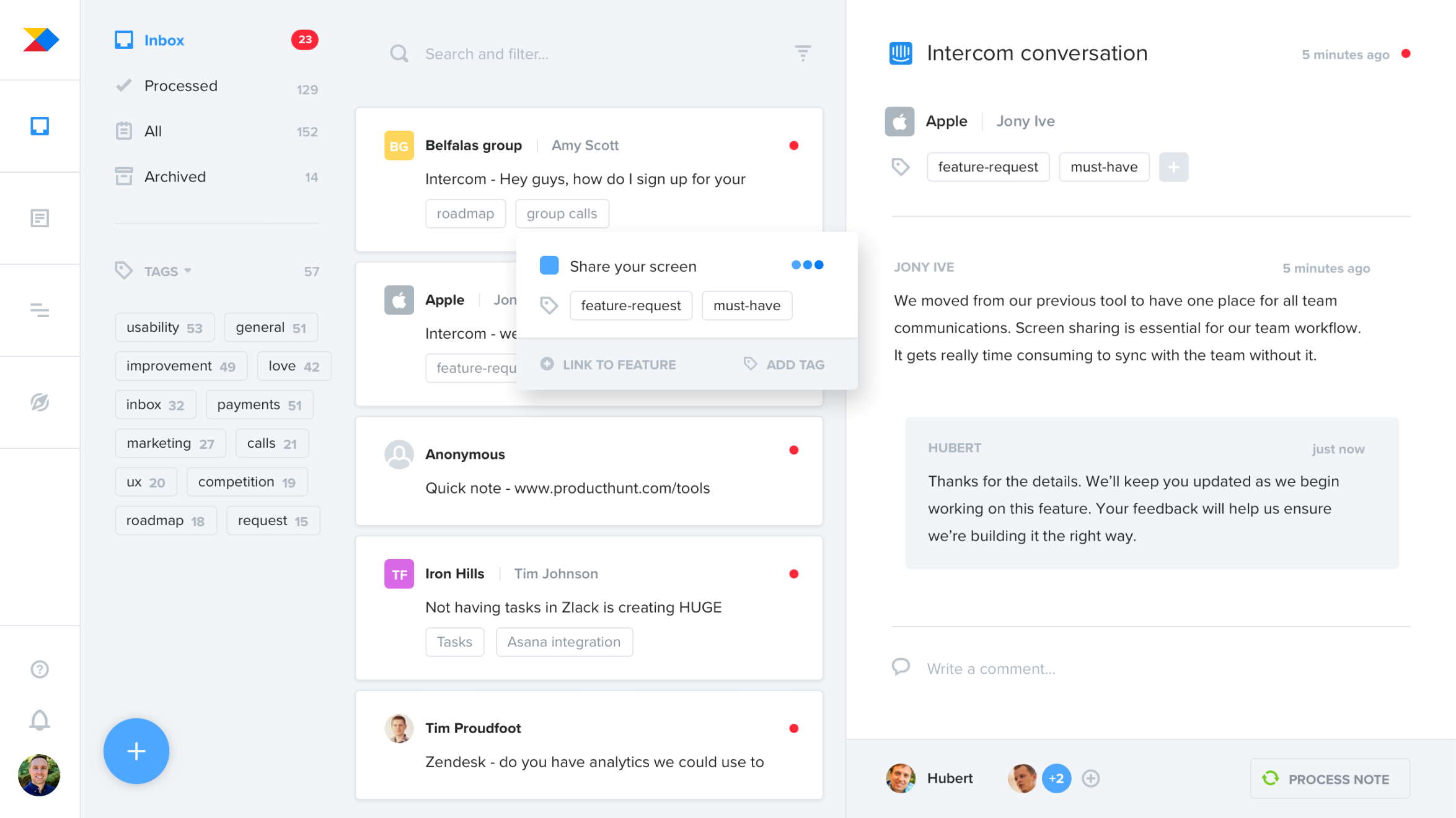 Consolidate product ideas, requests, and feedback from a variety of sources and identify trends around what customers really need