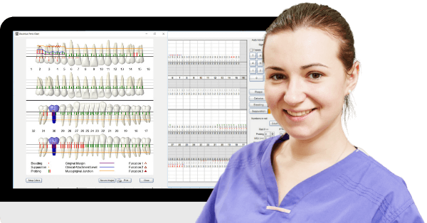 Breeze through full-mouth charting with powerful data entry shortcuts including voice perio for hands-free/ solo perio charting. All data comes together in the graphical perio chart, making it easy to visualize info and educate patients.