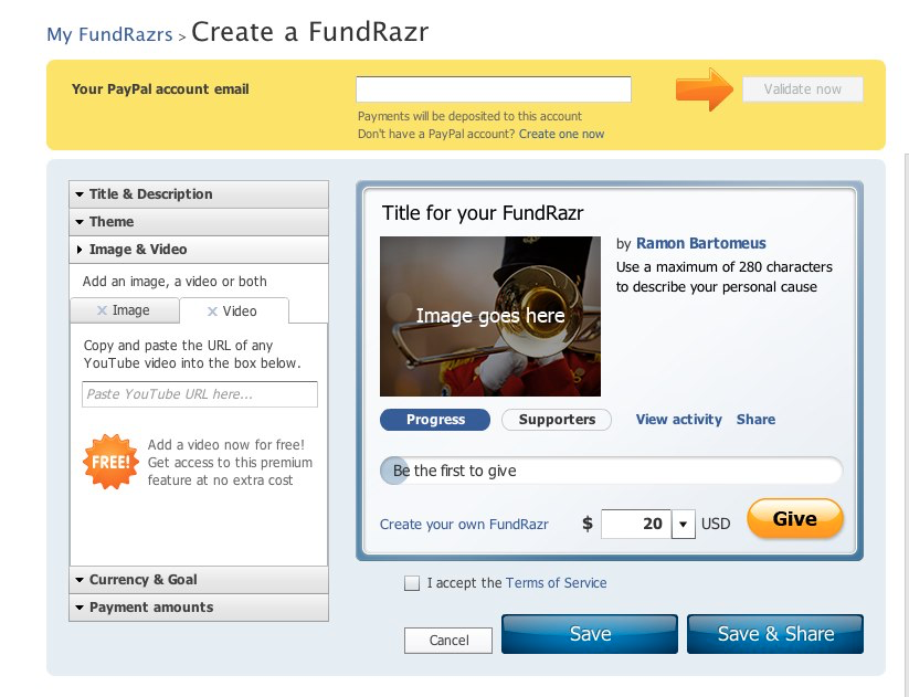 The campaign creator allows users to customize their campaigns with titles, descriptions, themes, images and videos