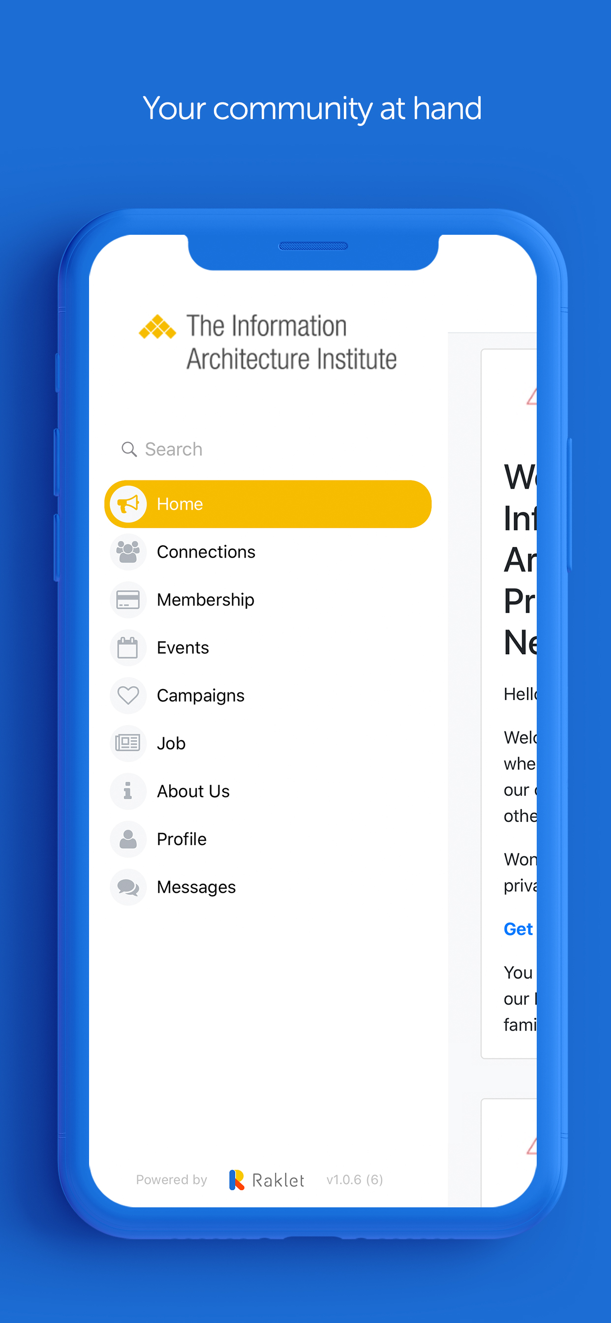 Raklet screenshot: Raklet: Access your community via mobile
