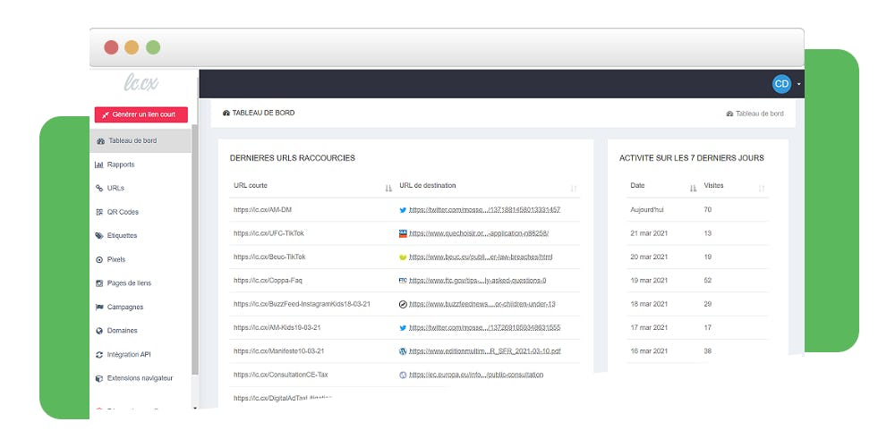 lc.cx Software - Dashboard