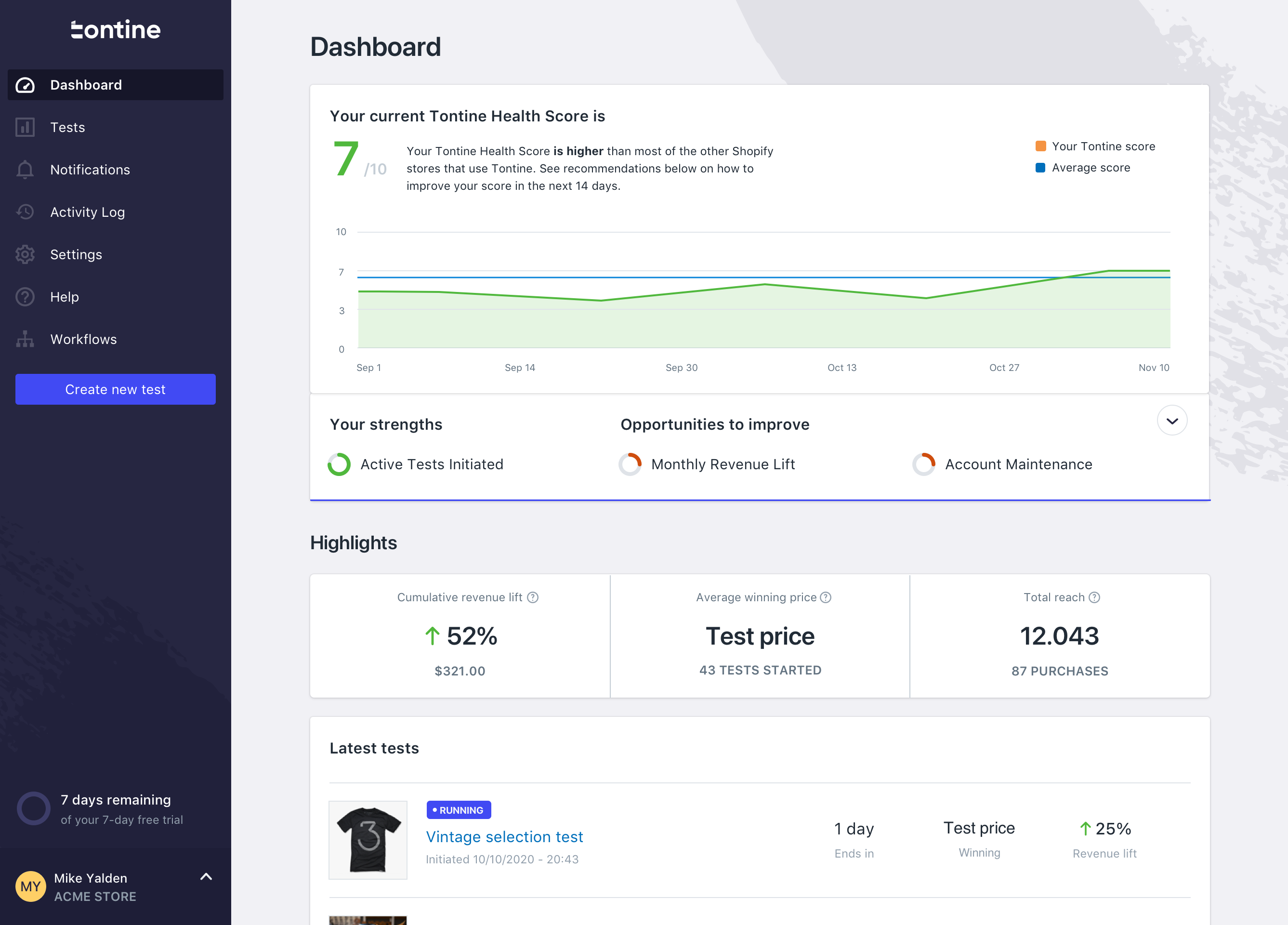 Tontine screenshot: Dashboard: See all of the latest updates and your current Tontine Health Score at a glance