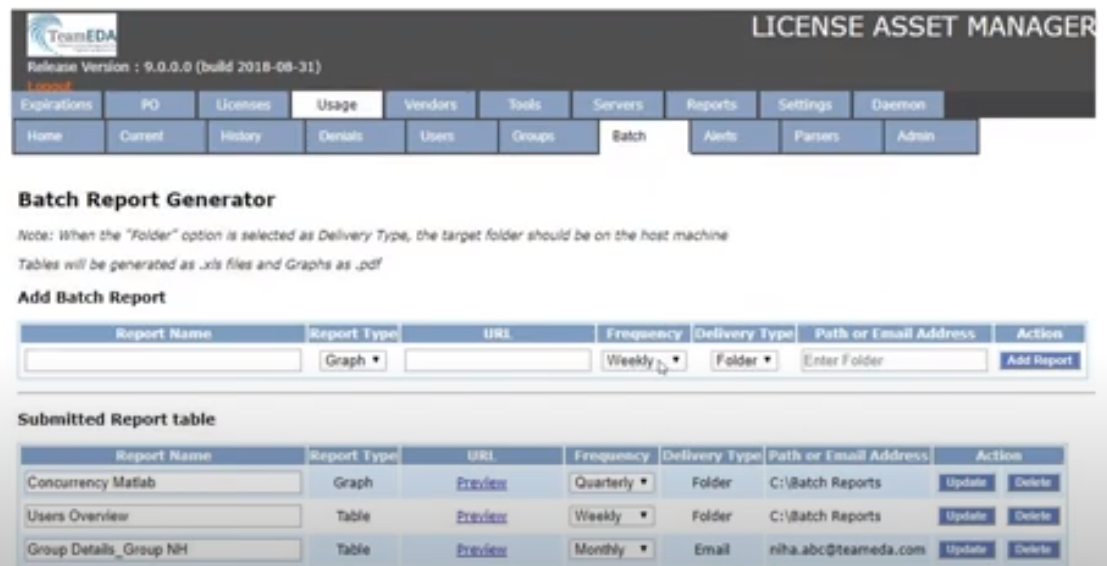 License Asset Manager batch reports