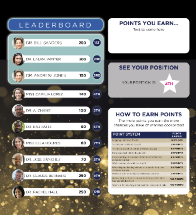 Track your attendees engagement at an event and reward them with points and prizes for their participation.  This has been very effective for driving sales leads to your sponsors.  Set up your own points and prizes in your branded custom portal