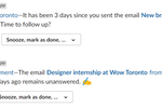MailClark screenshot: Slack - Never forget any messages thanks to reminders