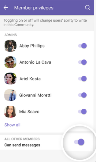 Viber managing member privileges
