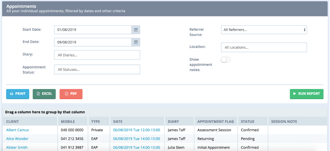 Power Diary client reports screenshot