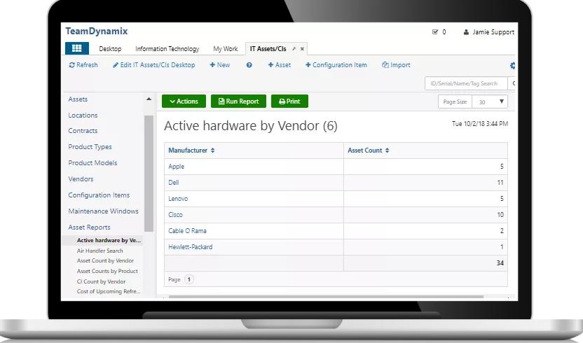 TeamDynamix endpoint control screenshot