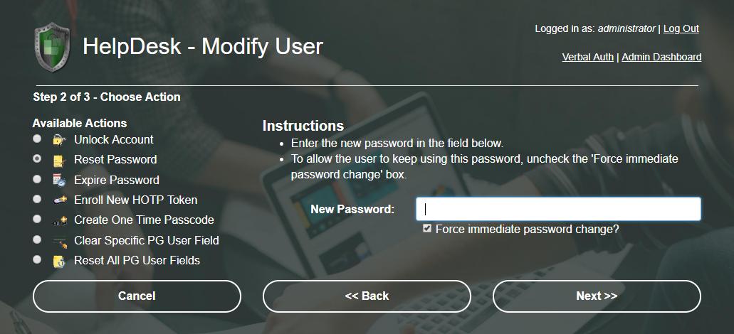 Help Desk Modify User
