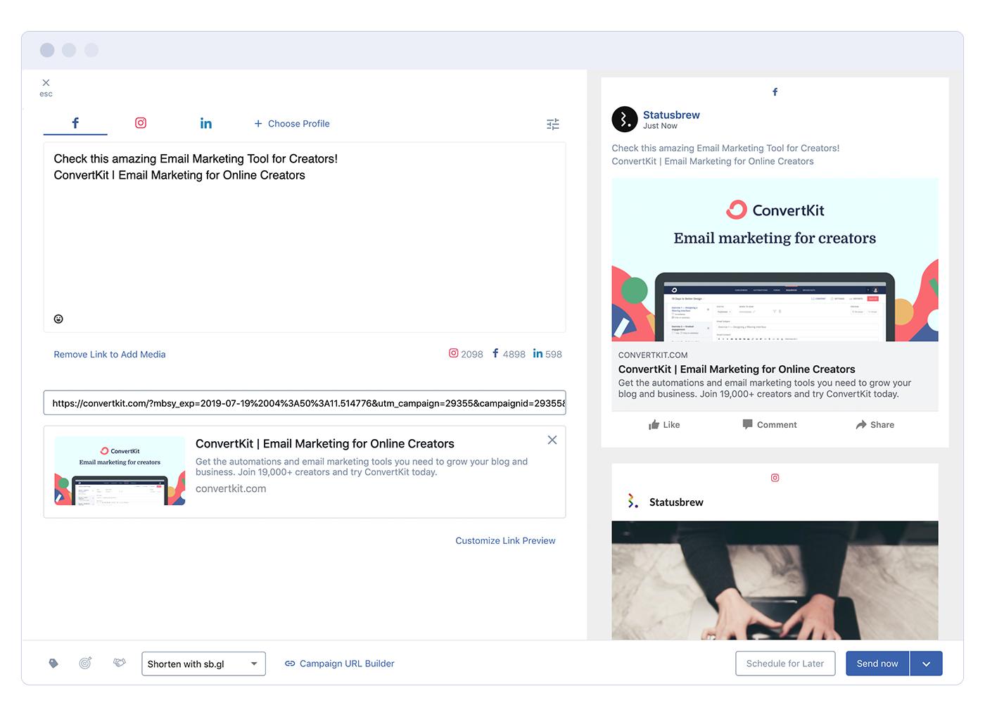 Statusbrew social media sharing