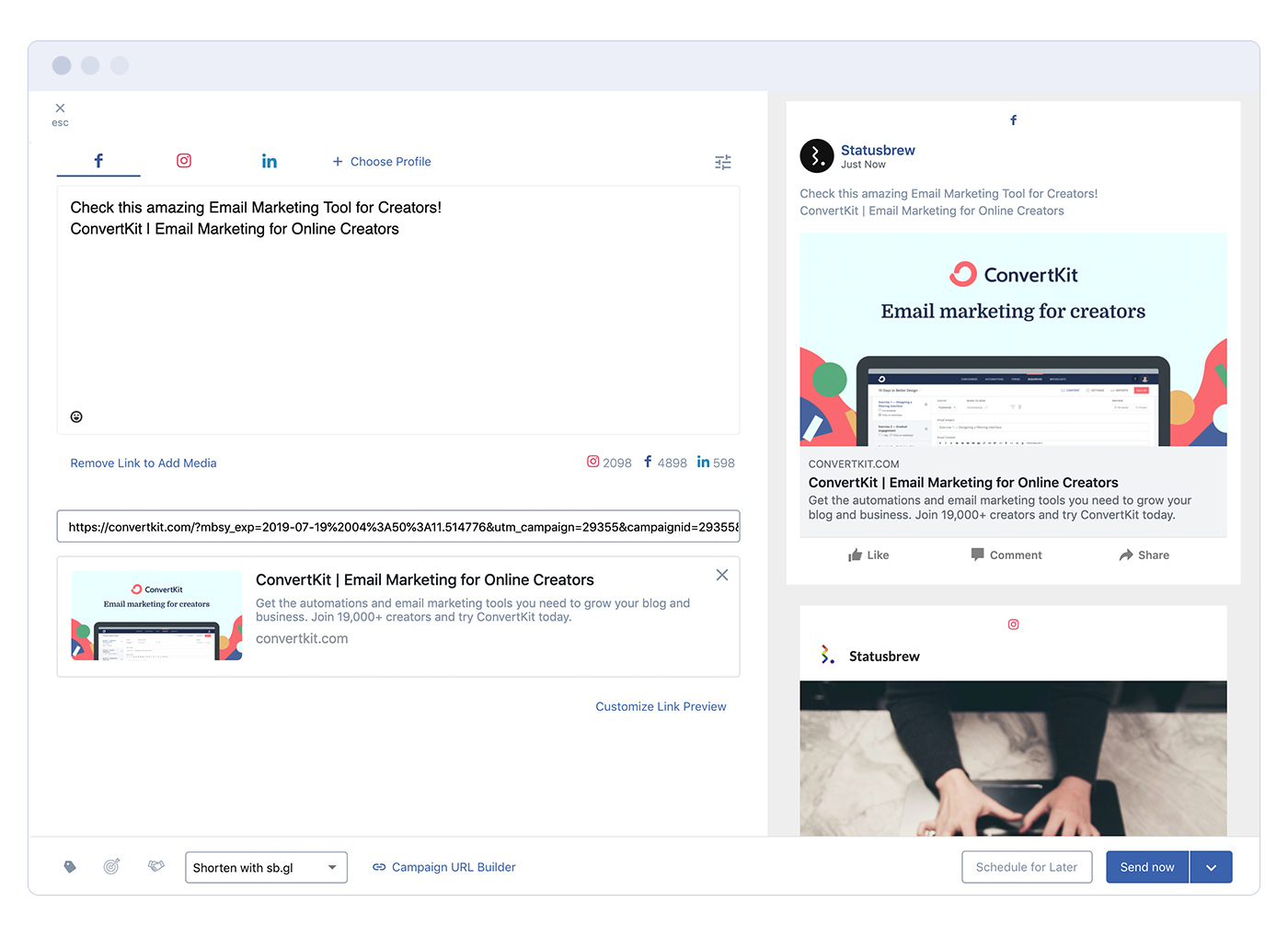 Statusbrew Software - Statusbrew social media sharing