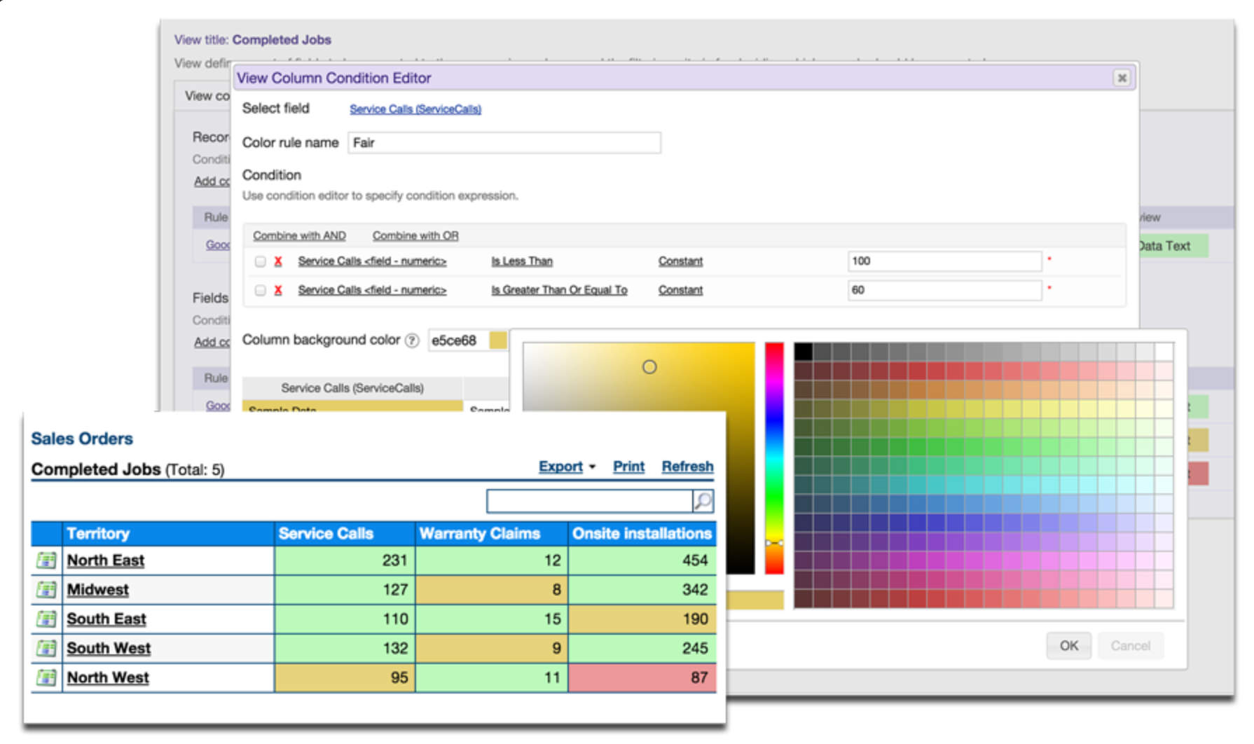 Set custom business rules to color-code records in order to quickly identify and act on issues that require attention