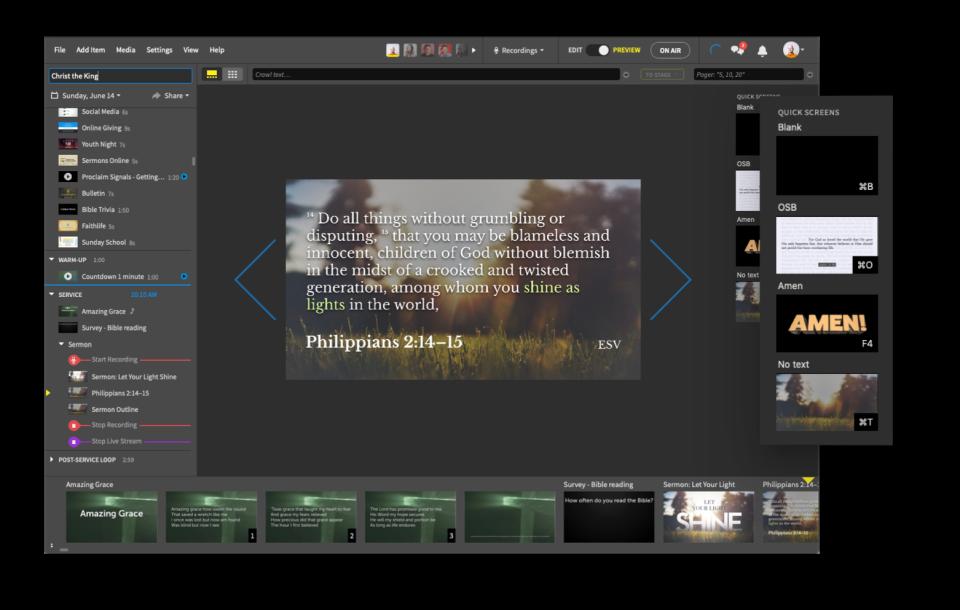 Faithlife Proclaim Software - Quick Screens