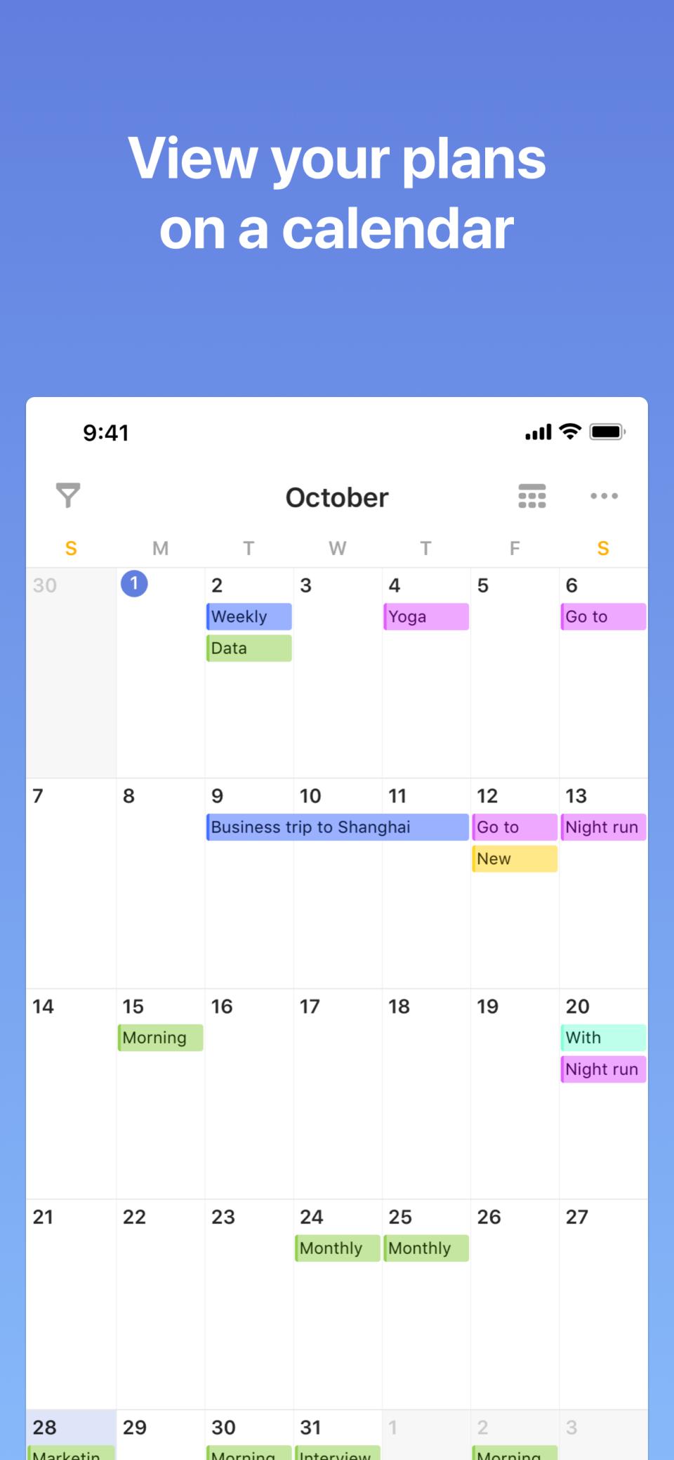 TickTick calendar view