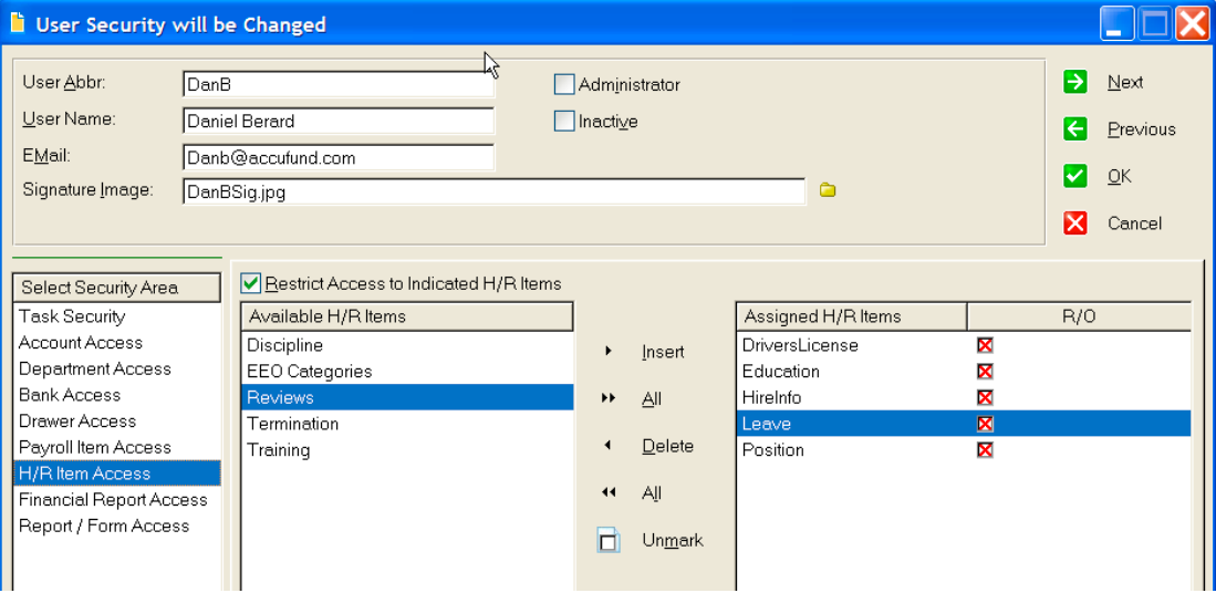 Users can control what data can be accessed and edited by others in AccuFund for Nonprofits