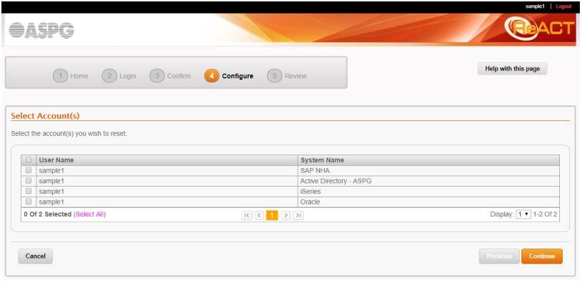 ReACT configuring an account