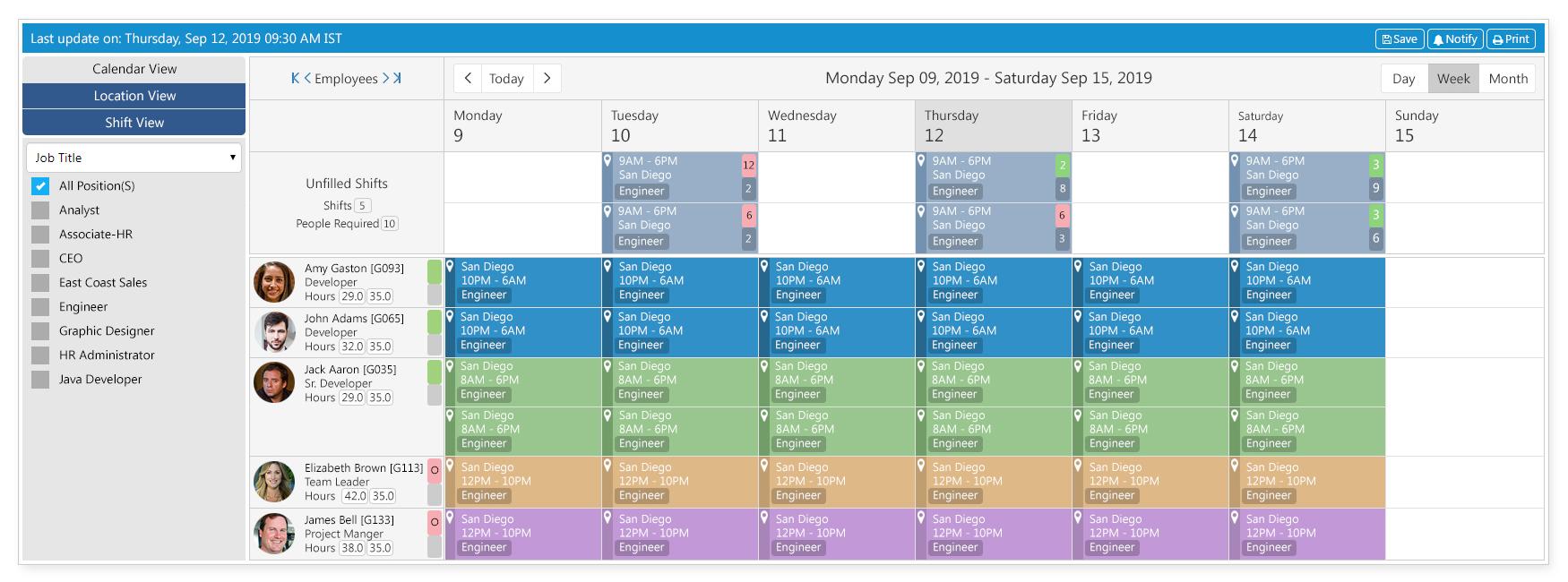 SutiHR Shift Calendar