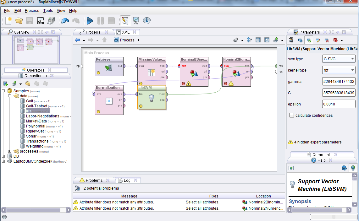 Creating a new process in RapidMiner