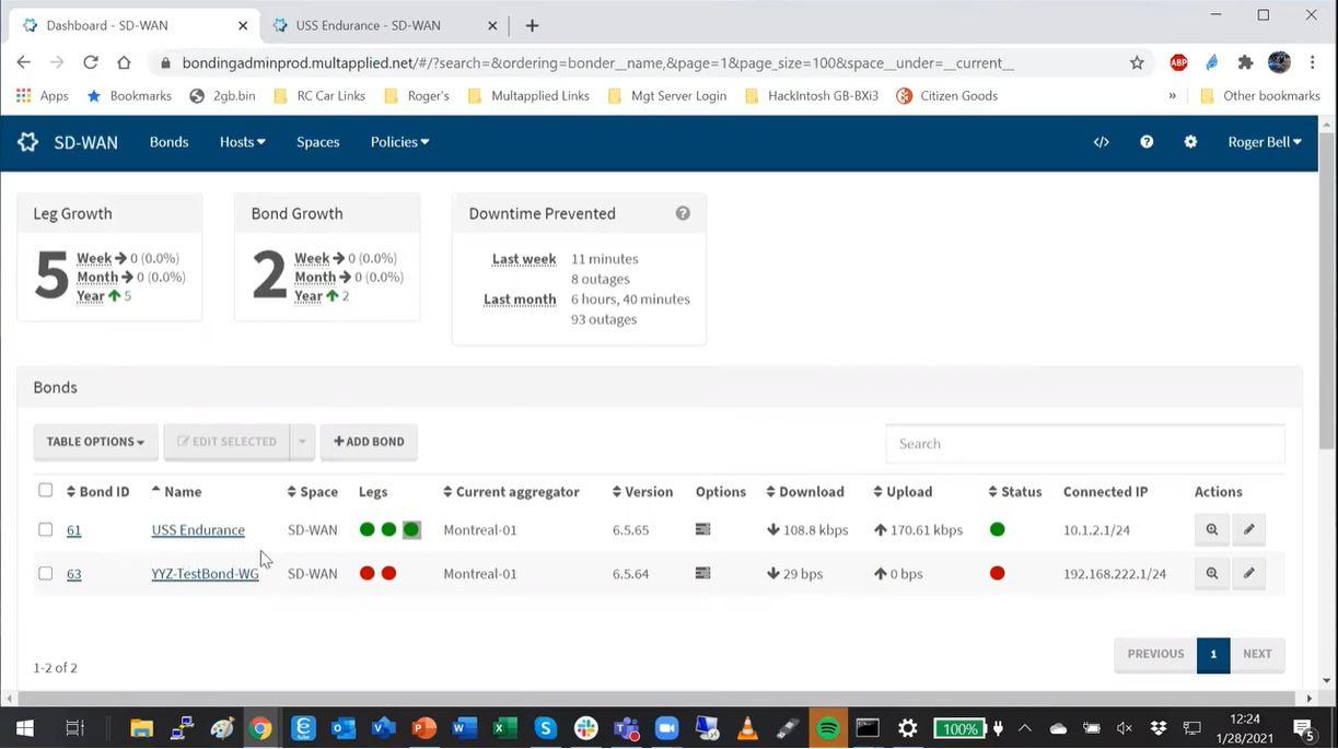 Multapplied SD-WAN activity dashboard