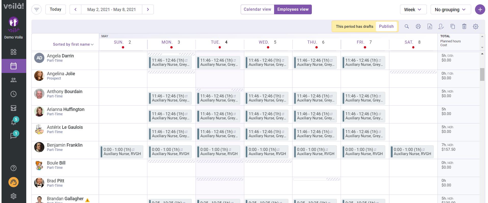 Employees' Schedule