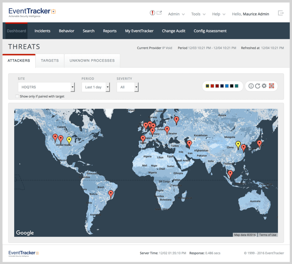 EventTracker: Active threat map