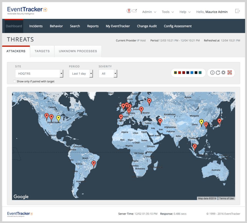 Netsurion Managed Threat Protection screenshot: EventTracker: Active threat map