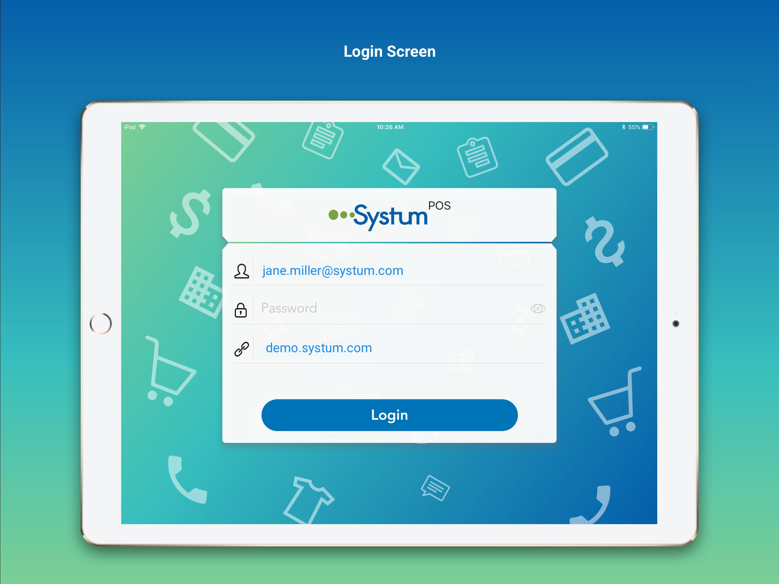 Systum login screen screenshot