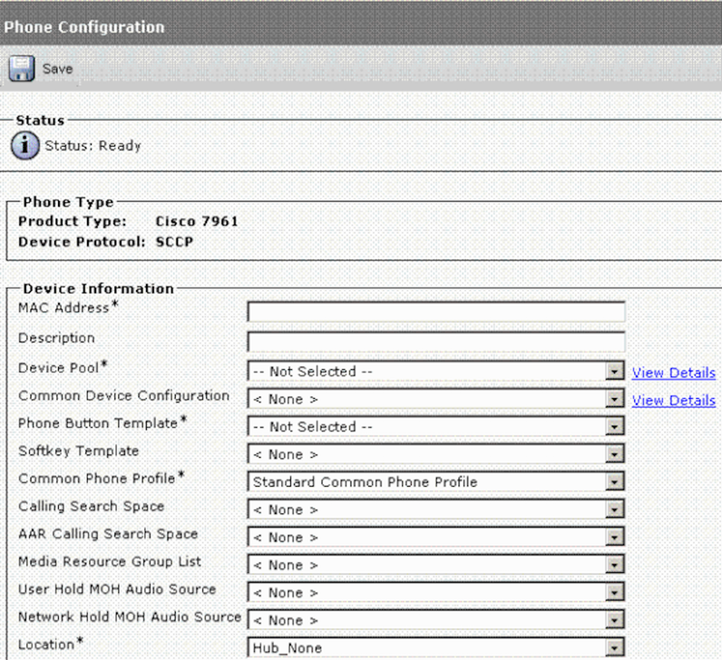 Cisco Unified Communications Manager phone configuration