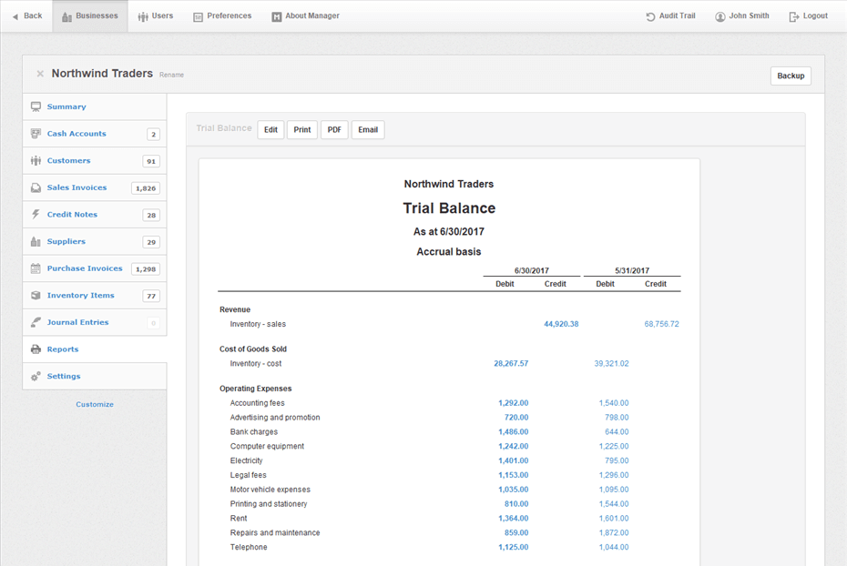 Manager Software - Trial balance